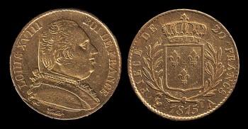 Монета Людовика XVIII